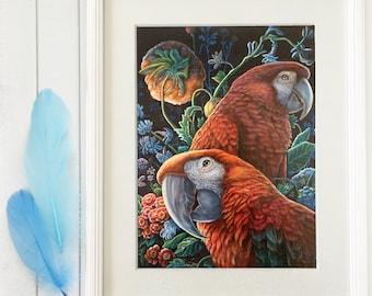 Parrot Garden - Remarked Canvas Print