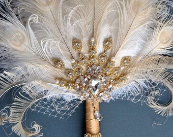 Gold Bridal brooch Bouquet Ostrich Big alternative Feather Fan Bridal Bouquet Ivory Great Gatsby 1902s art deco wedding Roaring 20's bouquet