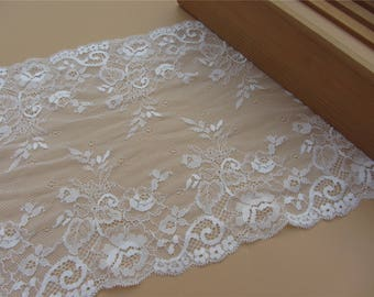 "Off white wedding lace,Stretch Lace Trim - Extra Wide black Lace Trim, 9"" Wide Lace Trim"