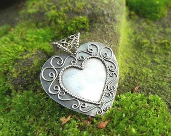 filigree pendant,silver pendant,heart pendant,fantasy,victorian jewelry,Norwegian filigree,modern filigree,gift for her,silver jewelry