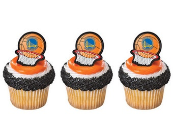 12 Golden State Warriors Cupcake Rings NBA Basketball Toppers Party Favors