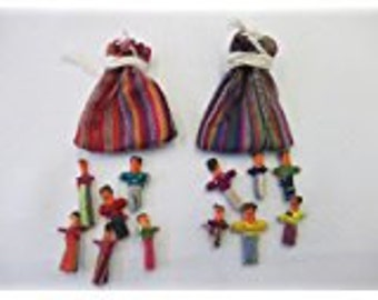"Worry Dolls - 6 - 1"" worry dolls in a pouch / bag - Pkg of 2 - Handmade"