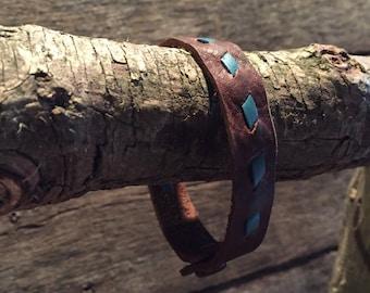 Handmade kodiak leather bracelet brown with turquoise buckstitch **western rustic boho style cowgirl shic