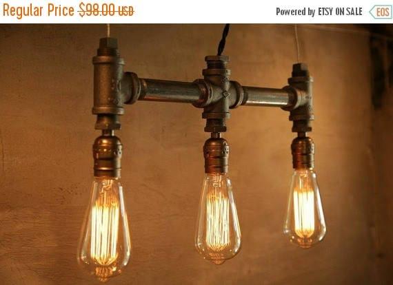 25% OFF SALE 3 Bulb - Classic Edison bulb iron pipe pendant lamp - Urban Industrial style lighting -New york city Loft Style