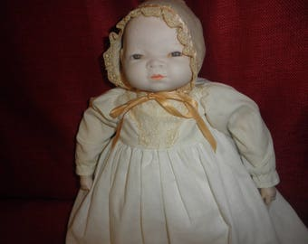 Antique Doll Bisque Head and Hand Stuffed Doll