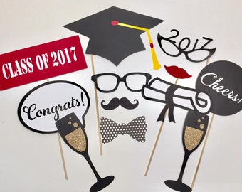 Graduation Party Class of 2017 Photobooth Prop Set of 12