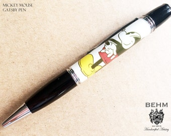 Ballpoint Pen - Handmade with Licensed Mickey Mouse Artwork - FREE Leather Pen Case!!