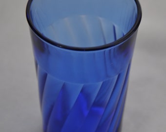 "Small Cobalt Blue Glass Tumbler Cup - 4.5"" / 11 cm Tall - 8 fl oz / 220 ml - Vintage Drinkware Kitchen Decoration Retro Home Decor"