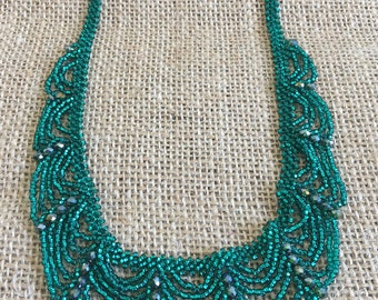 Turquoise Green Crystal Beaded Choker / Necklace