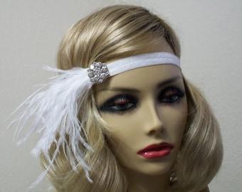 White 1920s headband, Great Gatsby headpiece, Flapper headpiece, Gatsby headband, Feather headband, New Years Eve, 1920s hair accessory