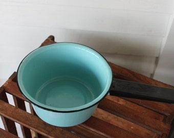 Vintage Aqua Blue Enamel Sauce Pan