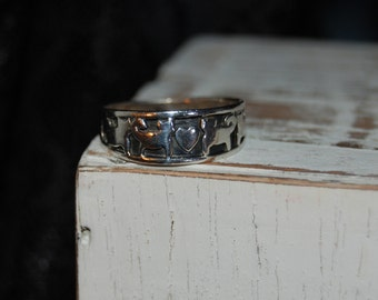 Unique Vintage Sterling Silver Double Kitty Cat Heart Band Ring Sterling 925 #BKC-KRNG111