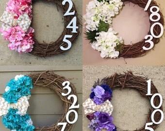 Grapevine Address Wreath - CUSTOM Personalized Name or House Address Floral Grapevine Wreath With Ribbon