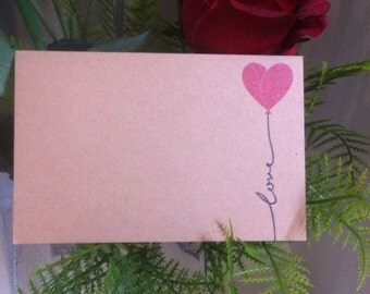 """Brown Kraft Cards """"Love Balloon"""" Pack of 10, Gift Tag, Name Tag, DIY Wedding, Papercraft, Scrapbooking,Party Supplies,florist supplies, RSVP"""
