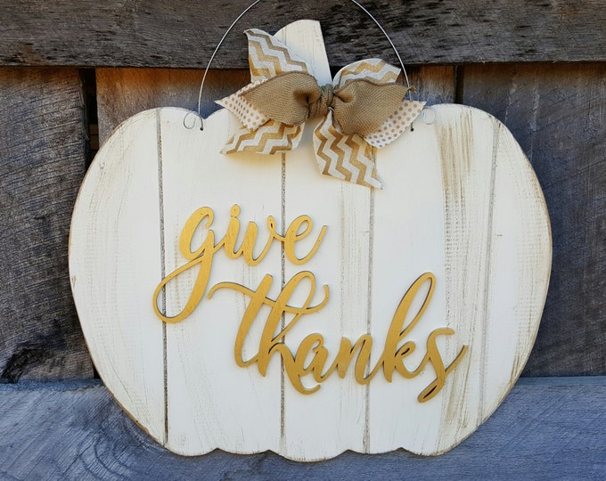 Give Thanks Door Hanger - Thanksgiving Door Hanger - Thankful Wreath