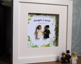0027LW Bride & Groom LEGO® Wedding customisable Wall Art Frame