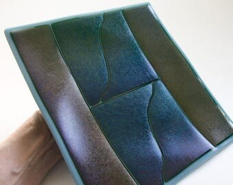 Fused Glass of Blue, Gold, and Green Iridized Glass