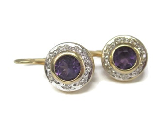 Vintage 14K Diamond Amethyst Leverback Earrings
