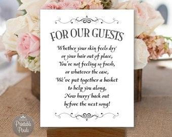 Bathroom Basket Printable Wedding Sign, Black and White, Toiletries Basket, Choose Your Size (#BSK3B)