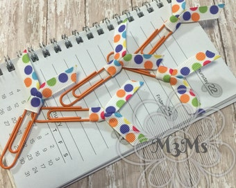 Ribbon Planner Bookmarks, Polka Dot Planner Clip, Bible Journaling, Ribbon Bookmark set, Cute Planner Accessories, Book lover gift