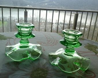Art Deco Green Vaseline Glass Single Taper Ruffle Edge Base Candlestick Holders Set of 2