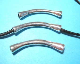 5pcs Antique Silver Curved Tube Connectors Arched 44x6mm