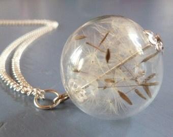Pusteblume silberfarben Halskette lang gefüllte Glaskugel