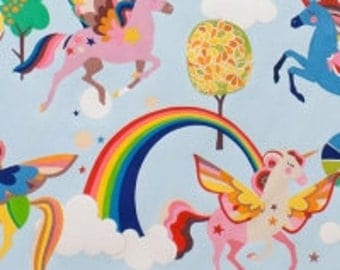 Fabric - Alexander Henry - Magic Rainbow Shine Sky - cotton print.