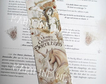 "Bookmark beige ""unicorns, charms and spells"""