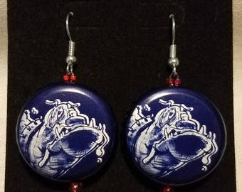 Bulldog bottlecap earrings