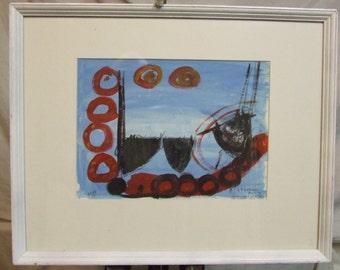 St Ives School small original painting Three Boats follower Roger Hilton Signed  framed art incl COA оригинальные произвед ения искусства