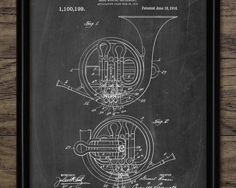 Vintage French Horn Patent Print - 1914 Brass Instrument Design - Music Room Art - Musician Art - Single Print #844 - INSTANT DOWNLOAD