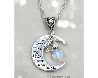 I Love You To The Moon And Back Necklace Pendant Heart Moonstone Gemstone Valentine's Day I Love You To The Moon Necklace Love You Gift N520