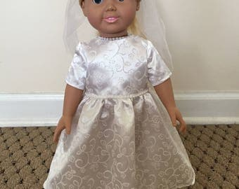 18 Inch Doll White Dress with Veil