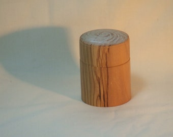 """Olivewood box with push fit  lid 2.1/2"""" long 2"""" diam approx"""
