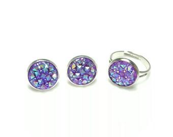 Purple druzy jewelry, Purple Ring & Earrings set, purple matching jewelry set, faux druzy cabochon, Druzy earrings, Druzy ring, Sparkly ring