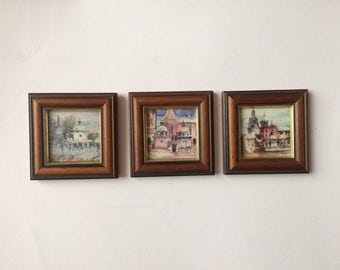 Set of 3 Small Vintage Pictures, Framed Vintage Prints, Cracow Poland