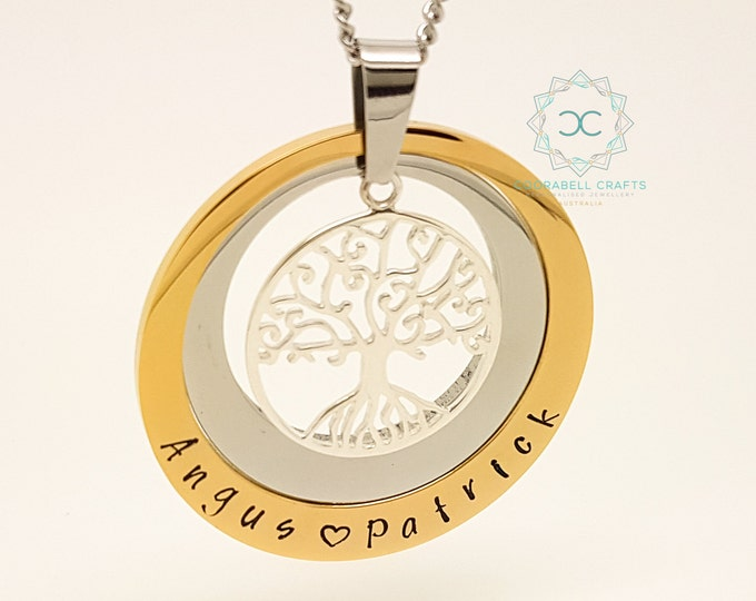 Personalised Jewellery, Personalised Necklace, Family Necklace, Hand Stamped Gold and Silver Tree of Life Pendant, Family Tree Jewelry