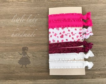 Set of 4 Pig Tail Bands piggy tails pony tail holders valentines hearts love pink red white piggy tails
