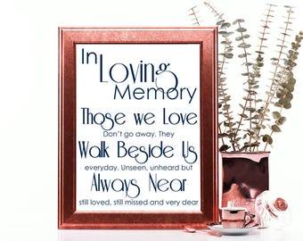 Remembrance Sign, In Loving Memory, Wedding Sign, Navy Wedding Sign, Those We Love, Printable PDF, JPEG, Instant Download Digital File