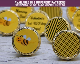 Bumble Bee Decorations - Bumble Bee Party Supplies - Black Bumble Bees - Bumble Bee Party Favors - 108 PRINTED Hershey® Kiss Stickers