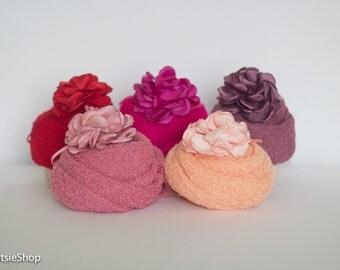 Stretch Knit Wrap and Headband Set, Photo Session Prop, Wrap Set, Baby Stretch Knit Wrap Set, Newborn Stretch Knit Wrap Set