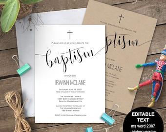 Printable baptism invitation, Baptism invites, Baptism invite, Boy baptism, girl baptism, invitation template, editable, Christening, #S2-BI
