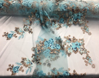 Turquoise multicolor Flowers Embroider On a Mesh Lace-prom-nightgown-sold by the yard-