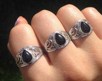 Sterling Silver Onyx Teardrop Ring