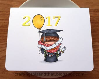congratulations card // 2017 graduation card // college graduation // school graduation // hawaii graduation card // lei graduation card //