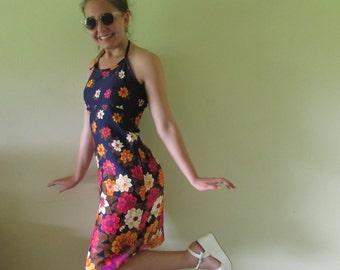 sundress, halter neck dress, floral summer dress with halter neck, summer dress, dress for summer, floral bouquet dress, backless dress.