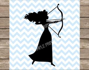 Disney SVG Merida SVG Brave Disney Princess Silhouette dxf svg Cut File for Cricut Silhouette cut files vinyl heat transfers archery
