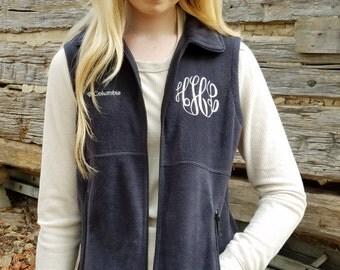 Monogrammed Columbia Vest,  Monogram Womens Fleece Vest