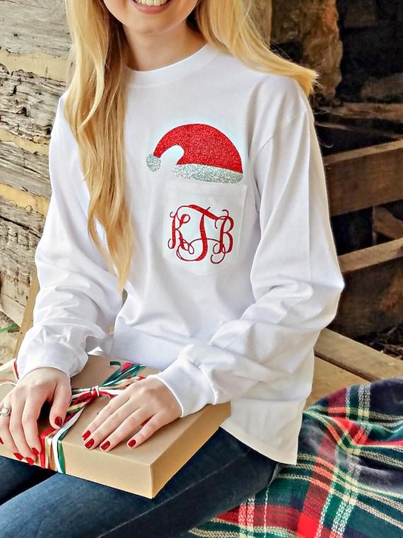 items similar to monogrammed santa shirt